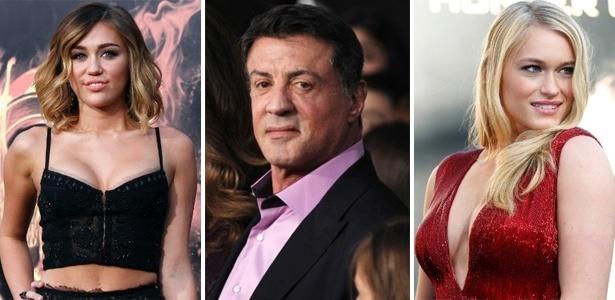 Miley Cyrus, Sylvester Stallone e Leven Rambin na pré-estreia de