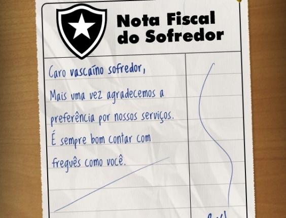 Corneta FC: Botafoguense passa nota fiscal para torcedor vascaíno