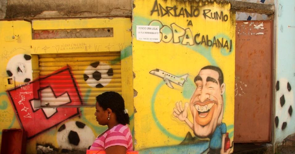 Grafite da Vila Cruzeiro satiriza fato de Adriano ter sido deixado de fora da Copa de 2010