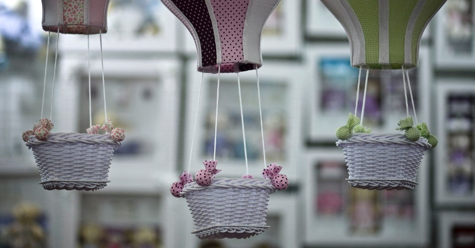 Balões decorativos expostos na Feira do Bebê, Gestante e Criança 2012