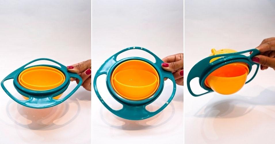 Da Eureka Kids, prato pode ser virado de ponta cabeça que o que está dentro dele não cai. À venda na Feira do Bebê, Gestante e Criança 2012