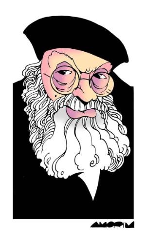 Amorim redesenhou o personagem Salgado, de Chico Anysio. A exposição estará em cartaz no Risadaria, a partir deste sábado (24)