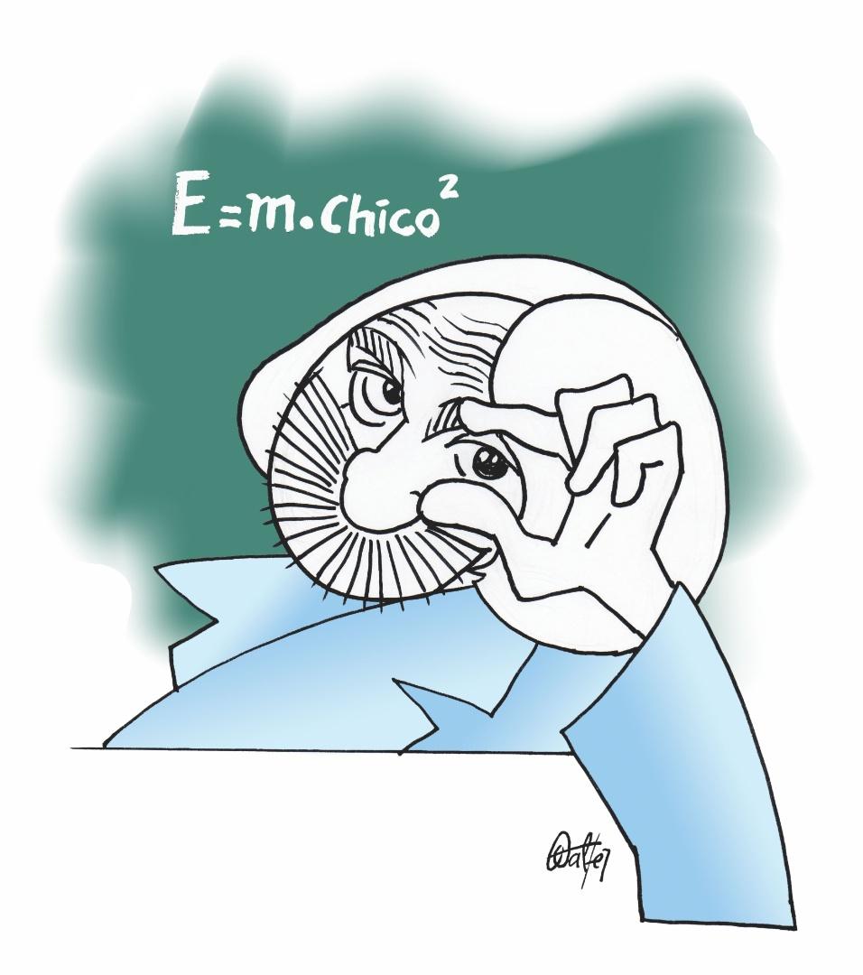 O cartunista Walter também relembrou o personagem Professor Raimundo para homenagear Chico Anysio, que morreu na sexta 23 de março. A exposição estará em cartaz no Risadaria, a partir deste sábado (24)