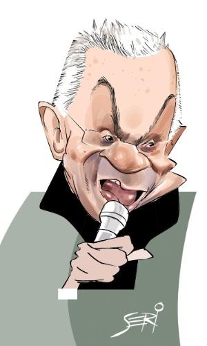 Seri desenhou o humorista Chico Anysio com um microfone na mão, para relembrar seus momentos no stand-up. A exposição estará em cartaz no Risadaria, a partir deste sábado (24)