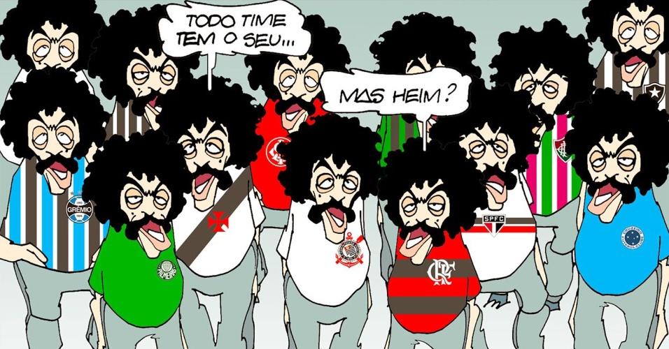 Cartunista Amorim escolhe o personagem Coalhada como torcedor de vários times para homenagear Chico Anysio