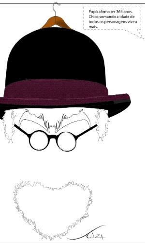Marcos Souza desenha o personagem Popó, um museólogo aposentado