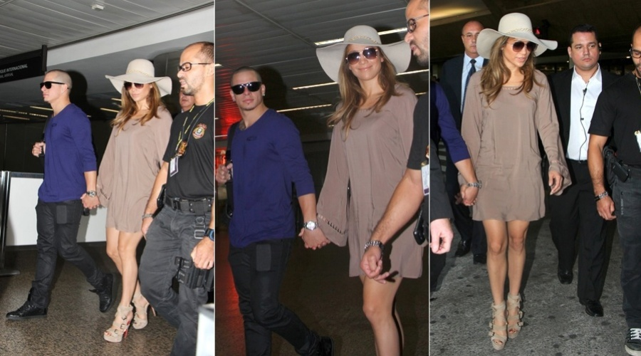 Jennifer Lopez desembarca no aeroporto de Guarulho, em S&#227;o Paulo (25/3/2012)