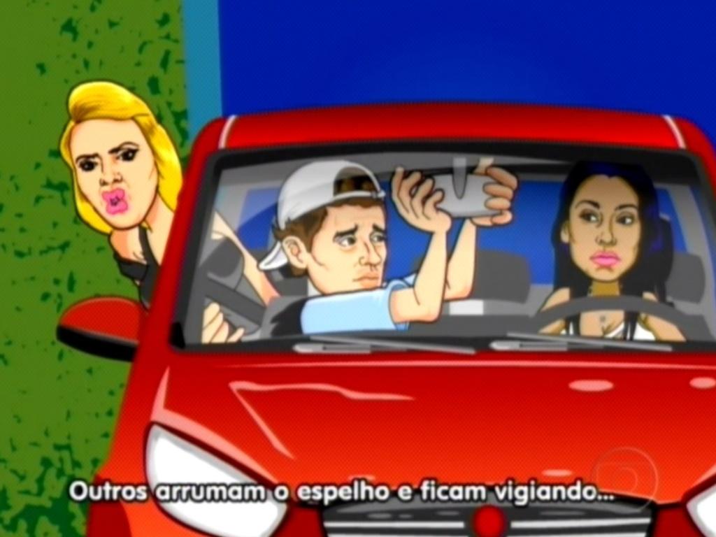 Maurício Ricardo mostrou o desentendimento entre Kelly, Fael e Fabiana durante prova de resistência (25/3/12)