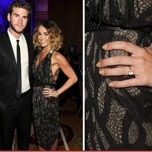 Miley Cyrus aparece com grande anel de diamantes em evento, levantando suspeitas que estaria noiva (24/3/12)