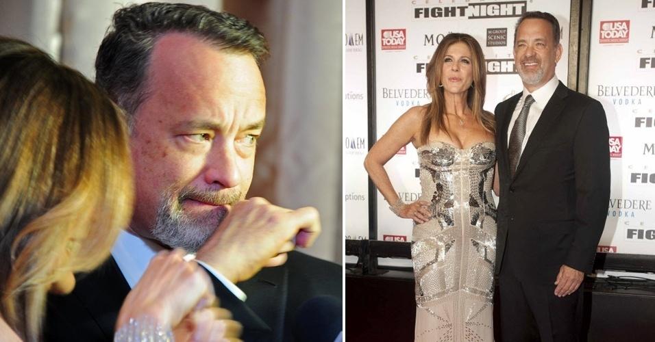 Tom Hanks tira fotos com pose de boxeador na festa de Muhammad Ali, que tem como objetivo atrair a atenção para a luta contra o mal de Parkinson