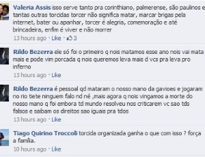 Ameaça de corintiano aos palmeirenses no Facebook