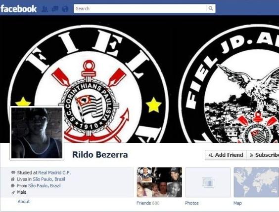 Facebook de Rildo Bezerra, que fez ameaças aos palmeirenses