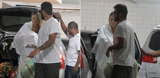 Luana Piovani chega em casa com o filho recém-nascido, Dom, após deixar a maternidade (28/3/12)