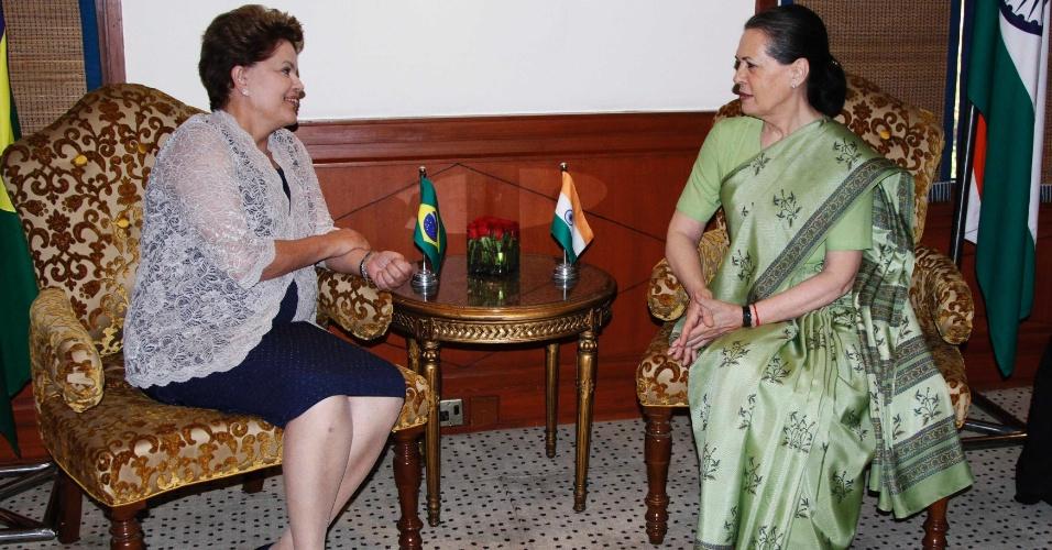A presidente Dilma Rousseff se encontrou com Sonia Gandhi em Nova Déli