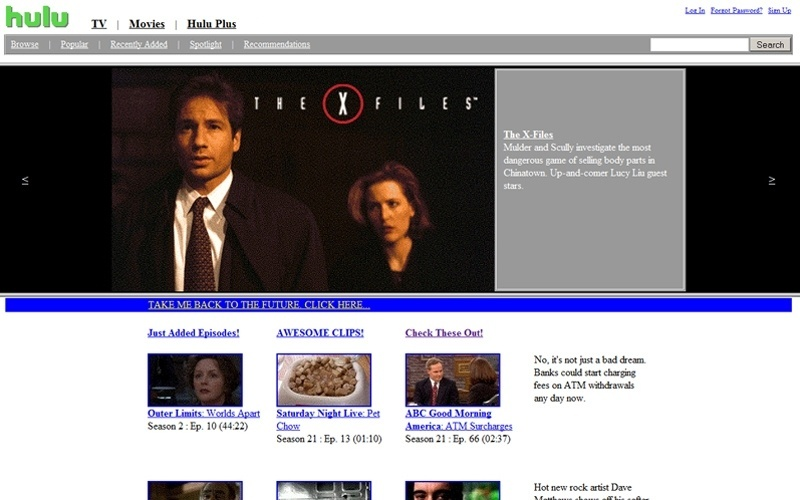 Site do serviço de Hulu exibe brincadeira no 1º de abril
