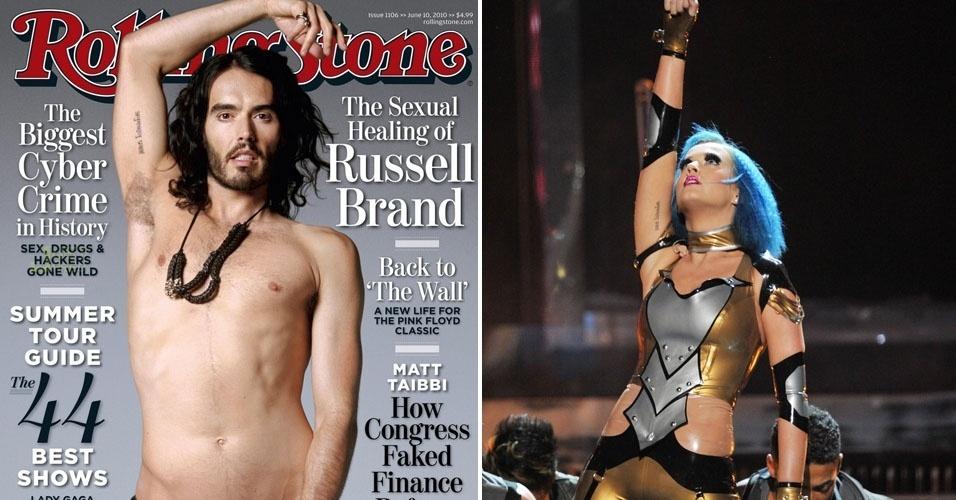 Russel Brand mostra na capa da Rolling Stone de maio de 2010 a tatuagem que tem igual da ex-mulher, a cantora Katy Perry