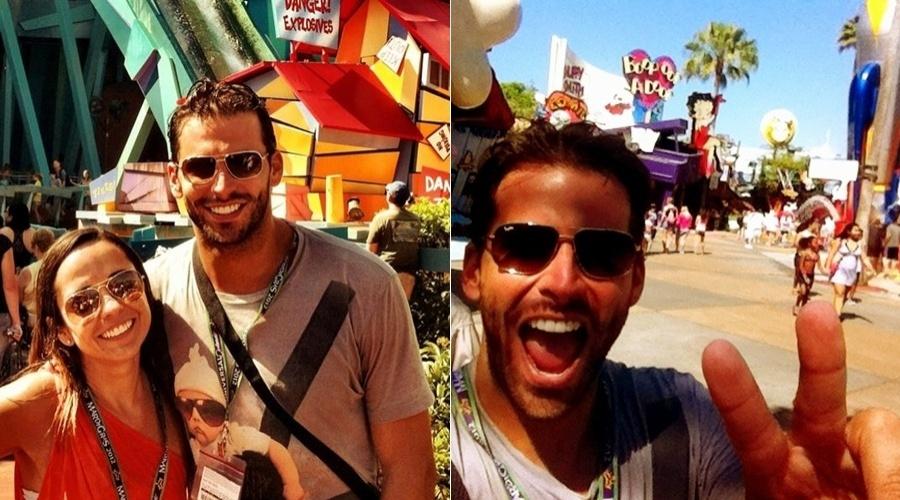 Henri Castelli curte férias em Orlando, Estados Unidos, acompanhado da amiga Carla Neuma (3/4/2012)