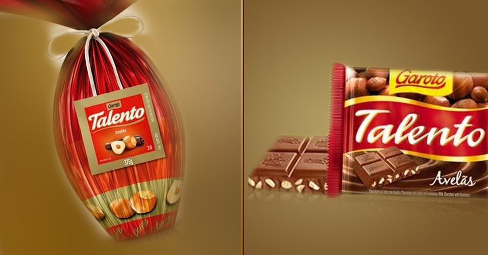 Ovo de Páscoa e barra de chocolate Talento