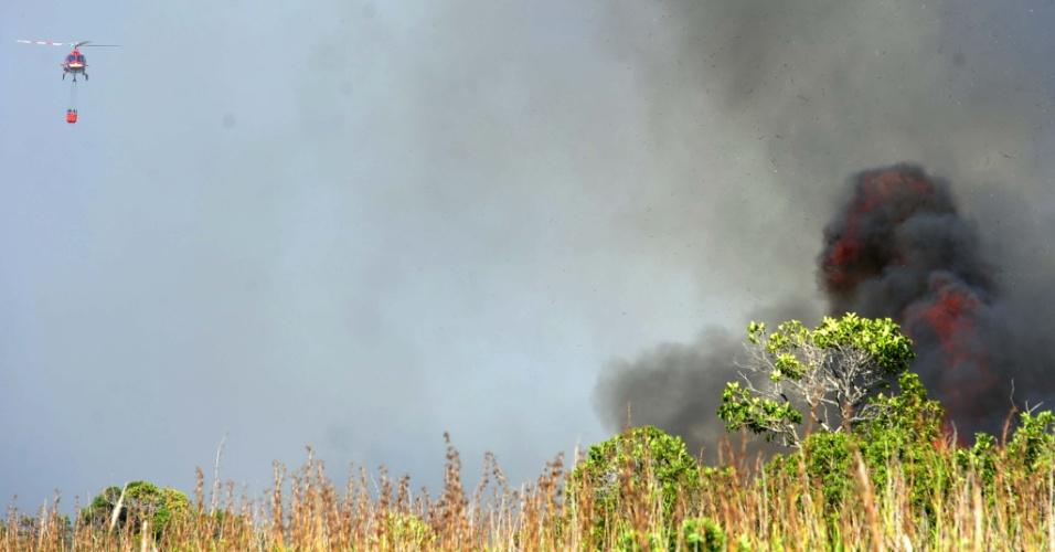A Defesa Civil e bombeiros tentam controlar um incêndio no Parque Estadual da Serra do Tabuleiro, em Palhoça, em Santa Cantarina