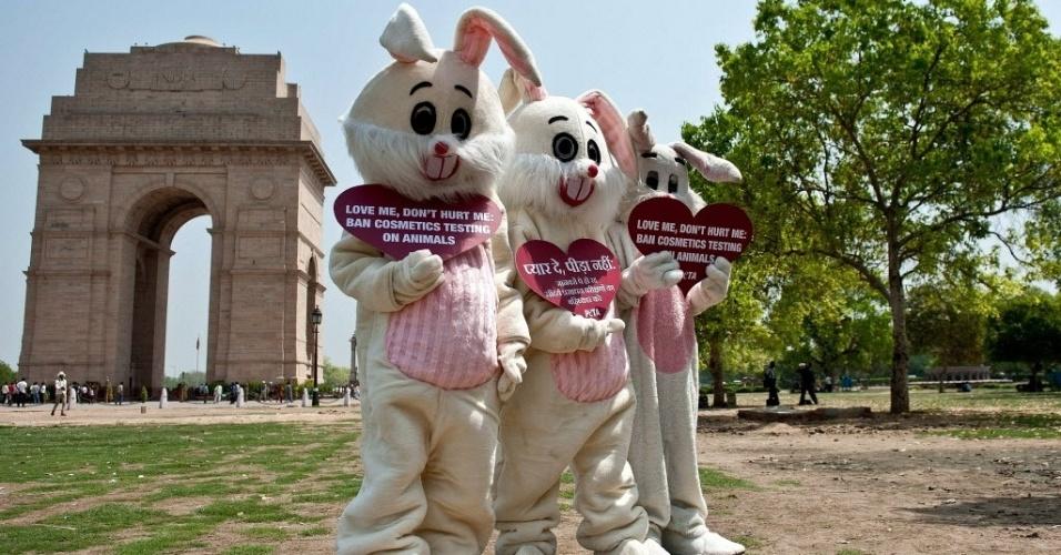Ativistas da ONG Peta (Pessoas pelo Tratamento Ético dos Animais, na sigla em inglês) protestam fantasiados de coelhos em frente à Porta da Índia, em Nova Délhi. Os manifestantes cobram do governo o fim de testes em animais para a fabricação de cosméticos