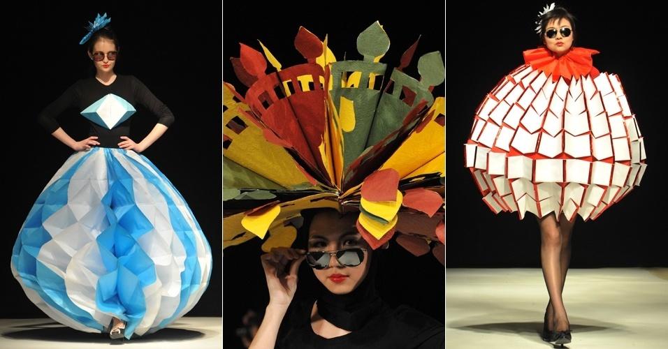Looks feito de papel pelo coletivo de estilistas Nah, desfilados na semana de moda do Quirguistão, em Bishkek (04/04/2012)