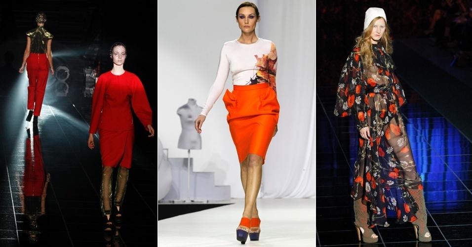 Modelos desfilam criações com tons fortes dos estilistas Cyrille Gassiline (à esq. ), Sergey Sysoev (centro) e Kute durante a Semana de Moda de Moscou (06/04/2012)