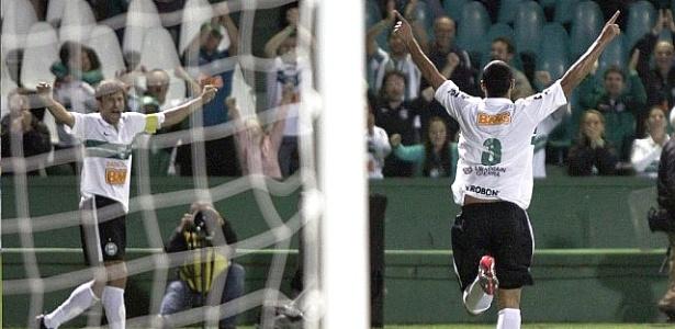 Emerson comemora o primeiro gol da vitória do Coritiba sobre o Cianorte por 3 a 1 (08/04/2012)