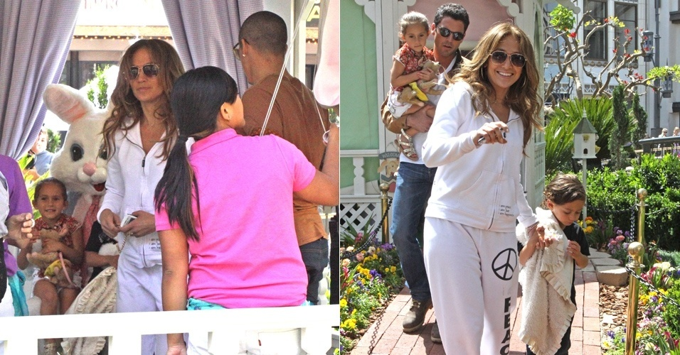 Jennifer Lopez leva os filhos, Maximiliam e Emme, para ver o coelhinho de Páscoa neste domingo, em comemoração à data, em Los Angeles, EUA (8/4/12)