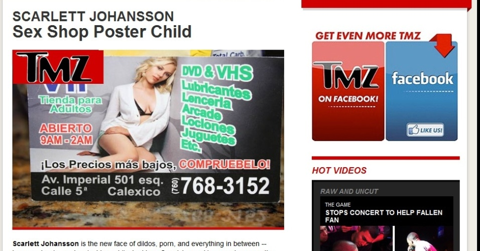 Foto da atriz Scarlett Johanson em cartão de um sex shop californiano (9/4/12)