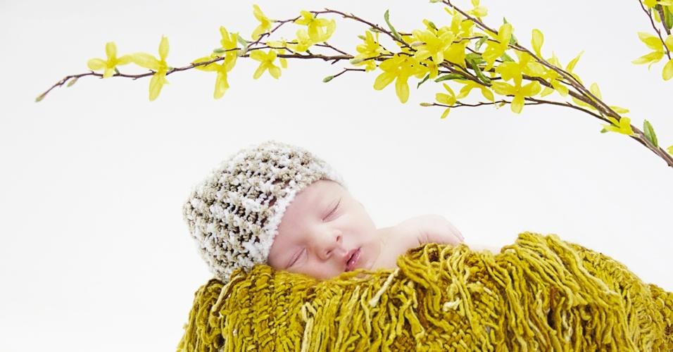 Foto de recém-nascido, feita pela fotógrafa Bárbara Aguirre