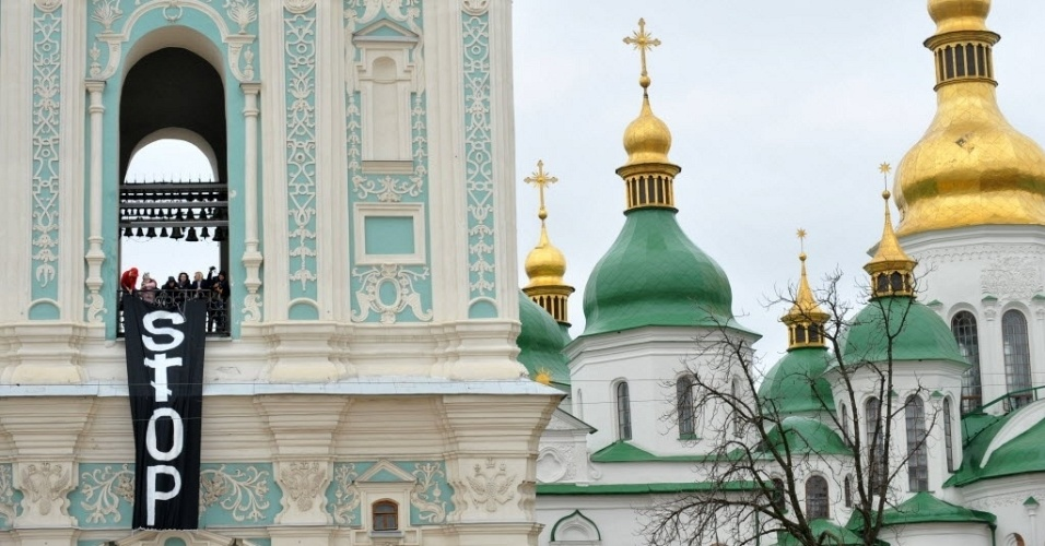 Igreja de Kiev, capital da Ucrnia, onde integrantes do grupo feminista Femen protestaram contra projeto de lei que probe todo tipo de aborto, com exceo dos casos em que h risco  sade da mulher