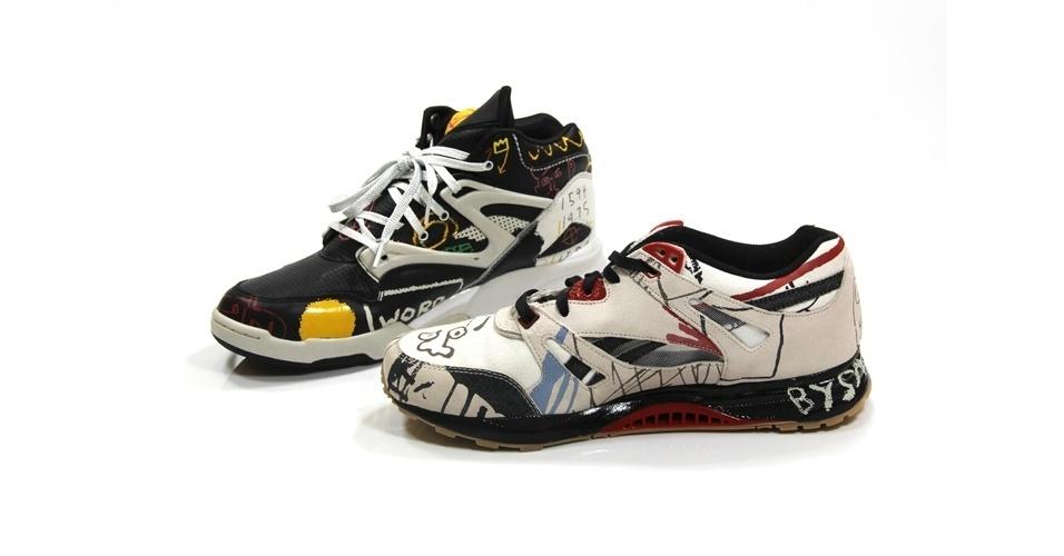 Tênis da Reebok com estampas do artista Basquiat; R$297 cada, na Sergio K (Tel.: 11 3083-1789)