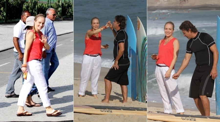 """Angélica grava o programa """"Estrelas"""" na praia da Macumba, zona oeste do Rio (11/4/2012)"""
