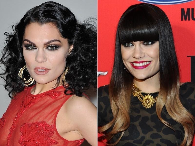 Abril: Depois de uma fase com os cabelos repletos de textura, a cantora Jessie J apareceu usando franja reta e fios bicolores