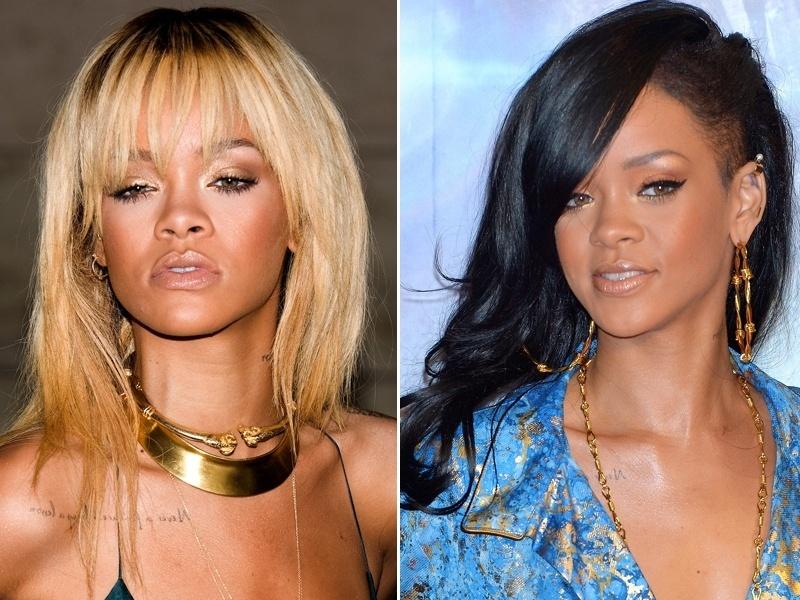 Abril: Rihanna não fica com um mesmo estilo de cabelo durante muito tempo; depois de uma fase loira, a cantora agora aposta nos fios escuros, lisos e com a lateral raspada ao estilo Alice Dellal