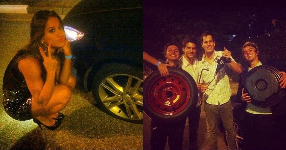 Ex-BBB Mayra ajuda Pe Lanza a trocar o pneu do carro (12/4/12)