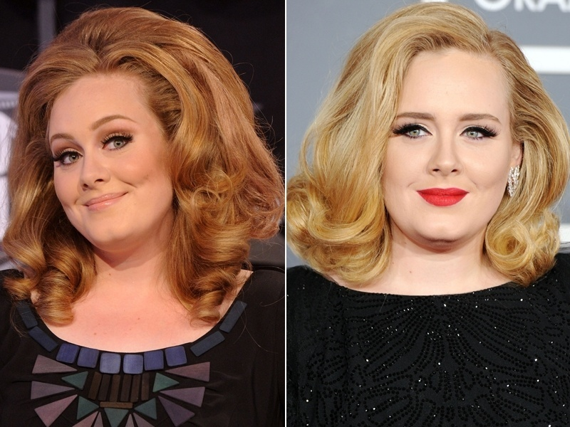Fevereiro: Depois de um tempo afastada dos holofotes por conta de uma cirurgia, a cantora Adele reapareceu e com os cabelos mudados, deixando de lado o tom avermelhado e apostando em um loiro glamouroso