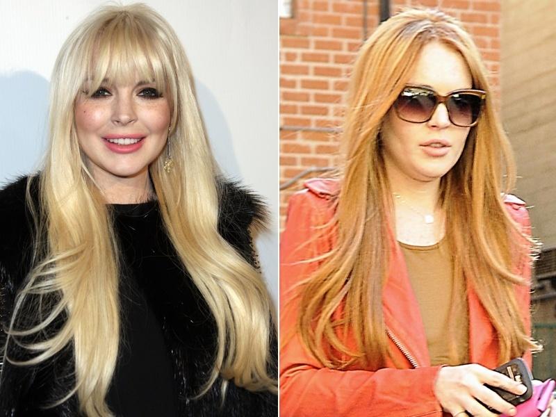 Março: Depois de uma fase pessoal turbulenta que incluiu cabelos em loiro platinado superlongos e com franja, a atriz Lindsay Lohan voltou a ser ruiva