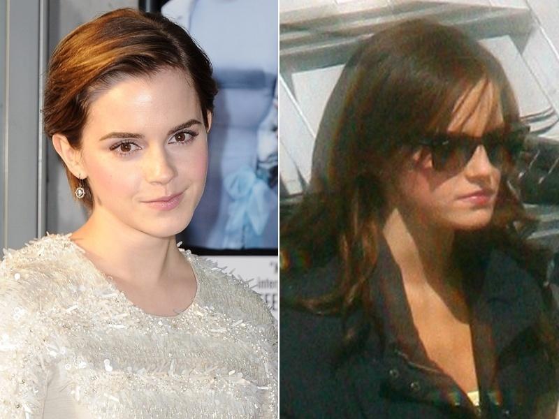 Março: Emma Watson foi flagrada por paparazzi usando extensões capilares no set de seu novo filme
