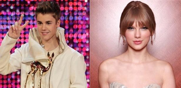 Os cantores Justin Bieber e Taylor Swift, que farão uma música juntos para o novo álbum do cantor