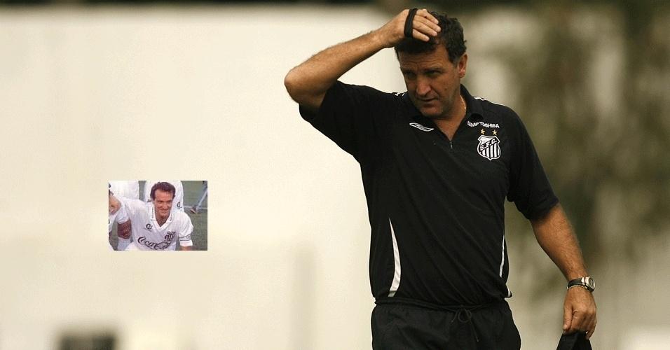 Cuca nos tempos em que era técnico e jogador (na foto em miniatura) do Santos