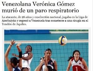 """Jornal venezuelano """"El Universal"""" noticia a morte da jogadora Verónica Gómez"""