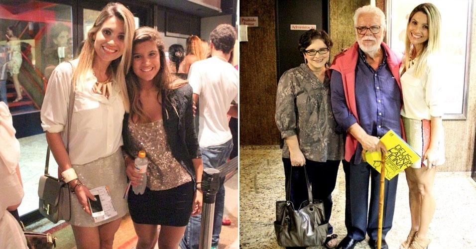 """A atriz Flávia Alessandra vai ao teatro com a filha assistir a peça """"Deus da Carnificina"""" e encontra o escritor Manoel Carlos (15/4/12)"""