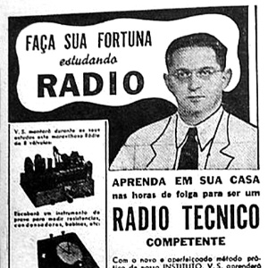 Anncio de curso por correspondncia de rdio tcnico com durao de 25 semanas
