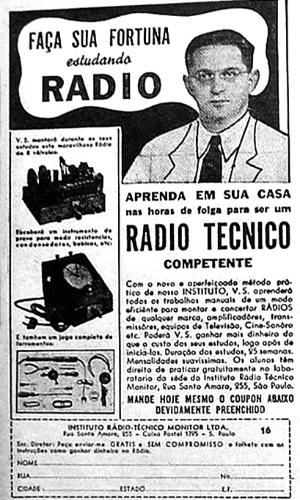 Anúncio de curso de 25 semanas de rádio técnico, em 1942, com fotografia do fundador do Instituto Monitor, Nicolás Goldberger