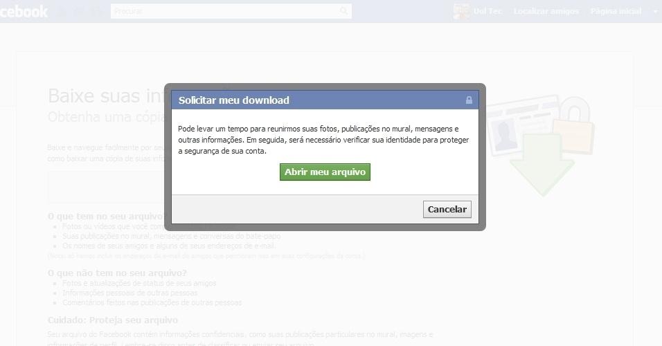 Como baixar dados do Facebook