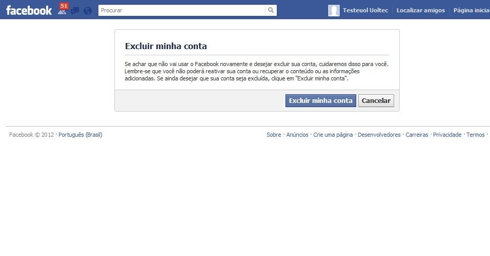 Excluir seu Facebook