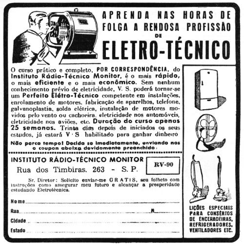 Quando o tempo de duração dos eletrodomésticos era maior, havia interesse em fazer cursos para manutenção de enceradeiras, geladeiras e ventiladores, como indica esse anúncio de curso de eletrotécnica.
