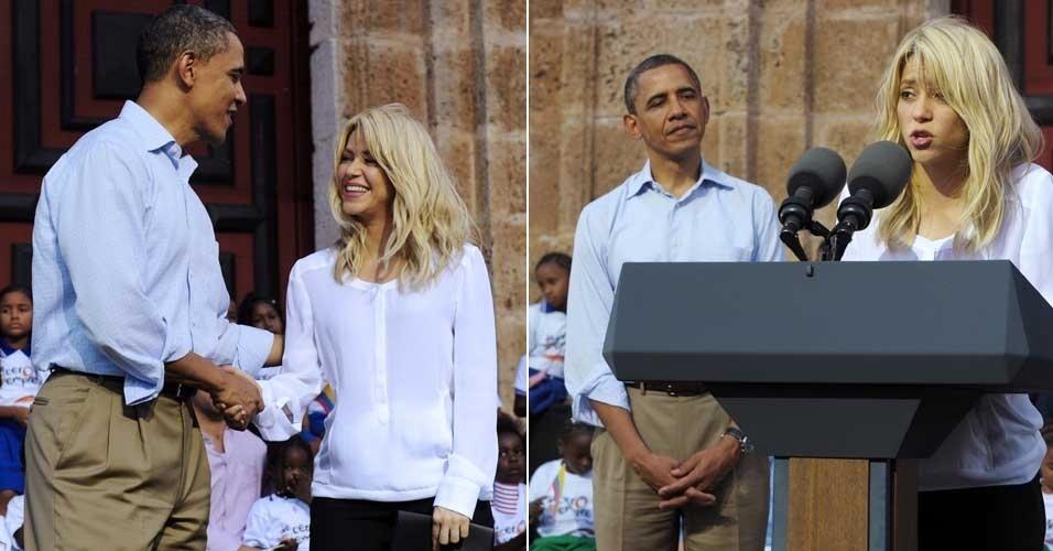Shakira e Barack Obama participam de evento social na Colômbia  (15/4/12)