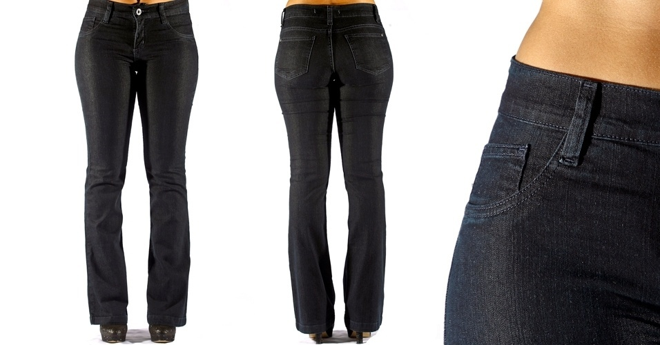 Calça jeans blue-black boot leg com a cintura no lugar ; R$79,90 na Collins (Tel.:20816383)